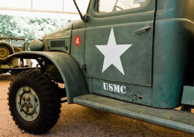 Fighting 4th Marine Division logo on a Jeep at Camp Maui